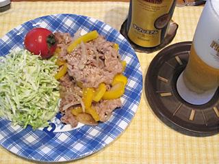 豚肉と黄パプリカとたまねぎの炒め物