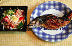 鯖の浜焼き&コブサラダ
